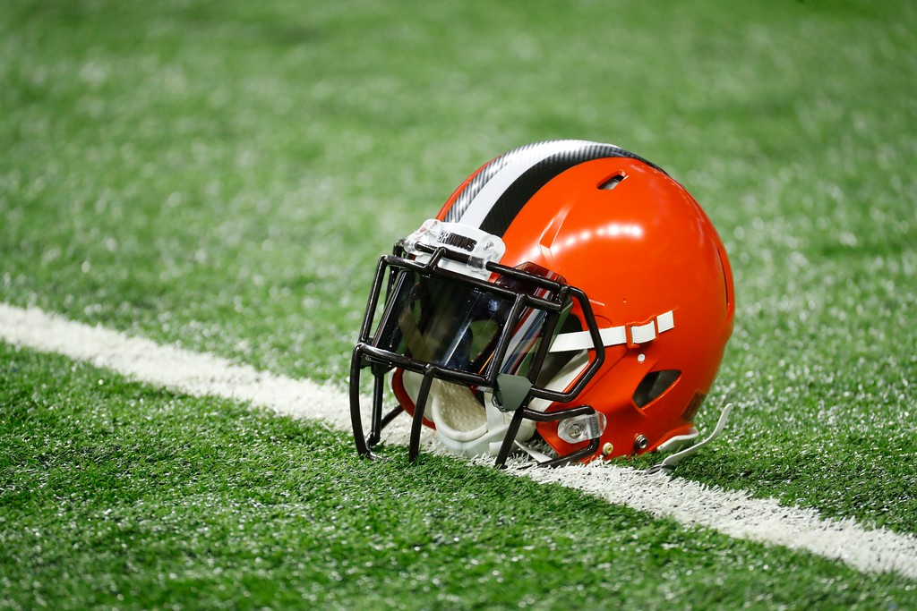 . A Cleveland Browns helmet rests on the turf during pregame of an NFL football game against the Detroit Lions, Sunday, Nov. 12, 2017, in Detroit. (AP Photo/Rick Osentoski)
