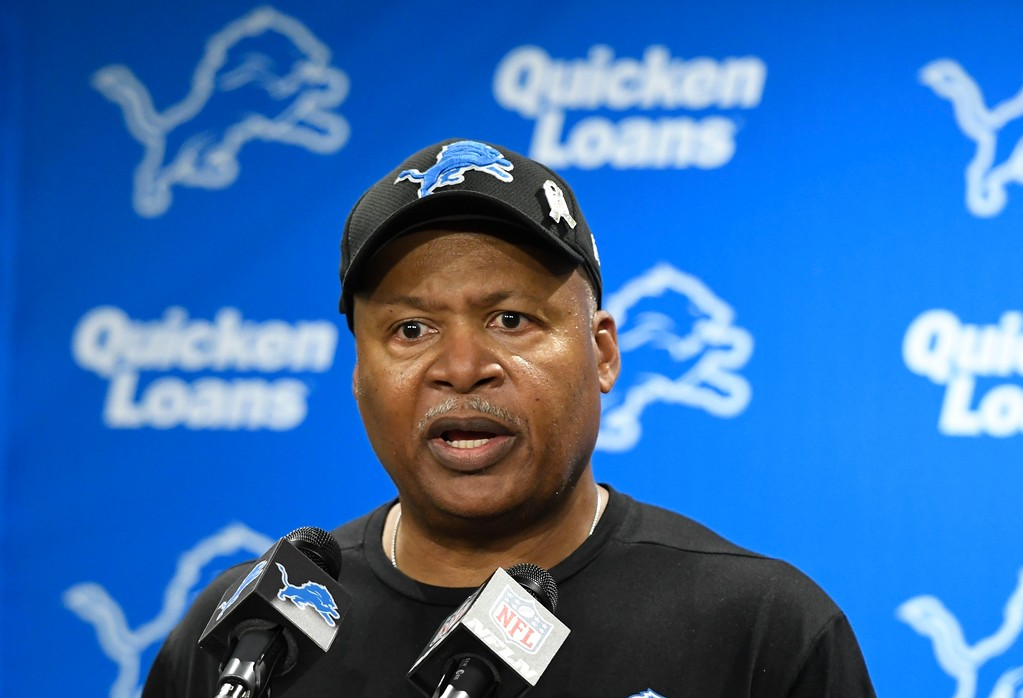 . Detroit Lions head coach Jim Caldwell addresses the media after their NFL football game against the Cleveland Browns, Sunday, Nov. 12, 2017, in Detroit. (AP Photo/Jose Juarez)