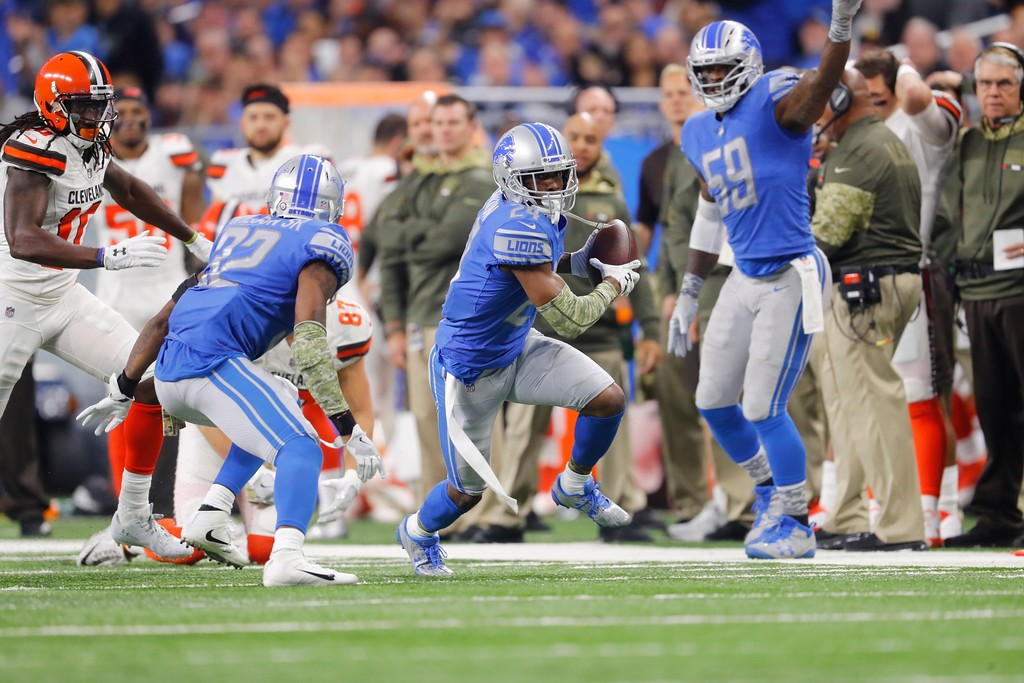 . Detroit Lions cornerback Nevin Lawson (24) returns a Cleveland Browns fumble for a 44-yard touchdown during the first half of an NFL football game, Sunday, Nov. 12, 2017, in Detroit. (AP Photo/Paul Sancya)
