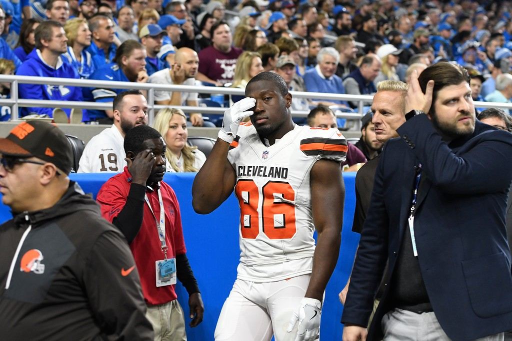 . Cleveland Browns tight end Randall Telfer (86) walks off the field during the first half of an NFL football game against the Detroit Lions, Sunday, Nov. 12, 2017, in Detroit. (AP Photo/Jose Juarez)