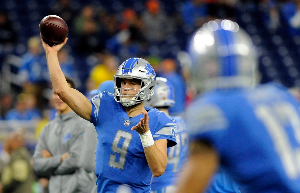 . Detroit Lions quarterback Matthew Stafford throws during pregame of an NFL football game against the Cleveland Browns, Sunday, Nov. 12, 2017, in Detroit. (AP Photo/Jose Juarez)