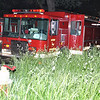 Detroit Eng. 23 amid the tall grass @ a dwelling fire at Mitchell & Illinois