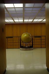 Globe outside of Adam Strohm Hall