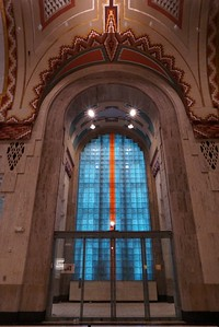Glass tile windows in banking hall