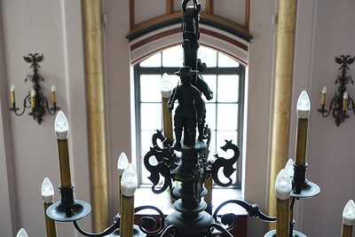 Detail of chandelier in lobby