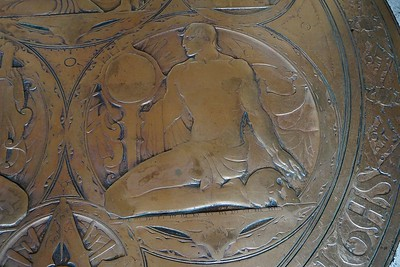Detail of brass seal in lobby floor- Youth