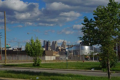 View of downtown Detroit from intersection of Grand River, Trumbull, and MLK