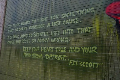 Street art on the side of Hopcat in Cass Corridor