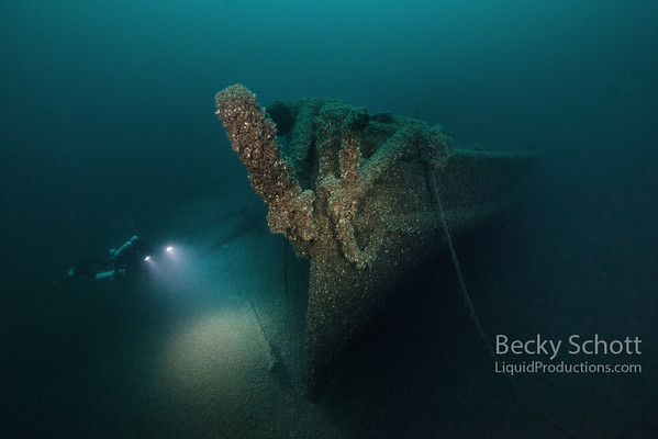 illuminating the steering pole on the Steamer Detroit shipwreck