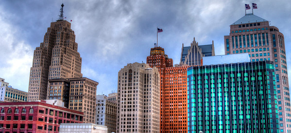 Detroit from the roof of Cobo