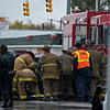 11/2/13 Detroit, MI - A five car accident at the intersection of Gratiot and Devine left multiple people hurt, including one person who needed to be extricated from her vehicle by members of Squad 3.