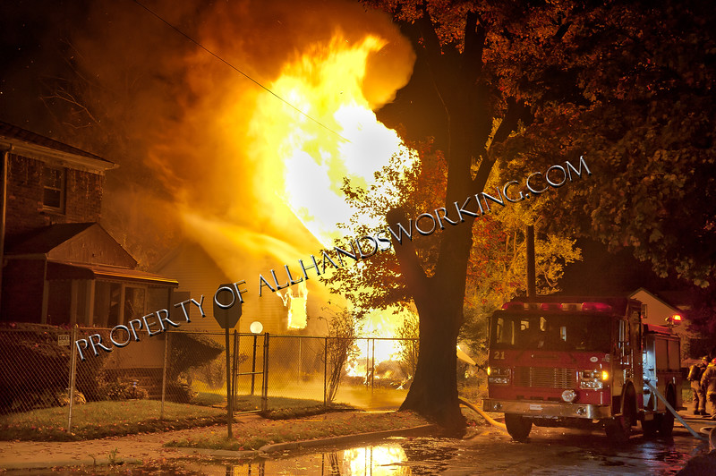 A vacant dwelling was going throughout upon the arrival of Engine 42.  Companies let the house burn into the basement.