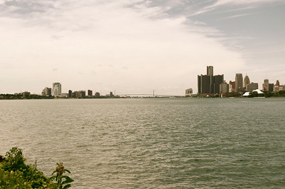 View of Downtown Detroit and Windsor, Canada from Belle Isle