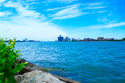 View of Downtown Detroit and Windsor, Canade from Belle Isle