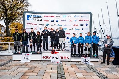 Die drei Sieger des DSL-Pokals 2018:  Norddeutscher Regatta Verein (NRV), Potsdamer Yachtclub (PYC), Lübecker Segler-Verein (LSV) © DSBL/Oliver Maier