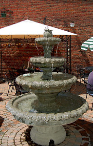 Fountain on the patio at the Bistro New Albany