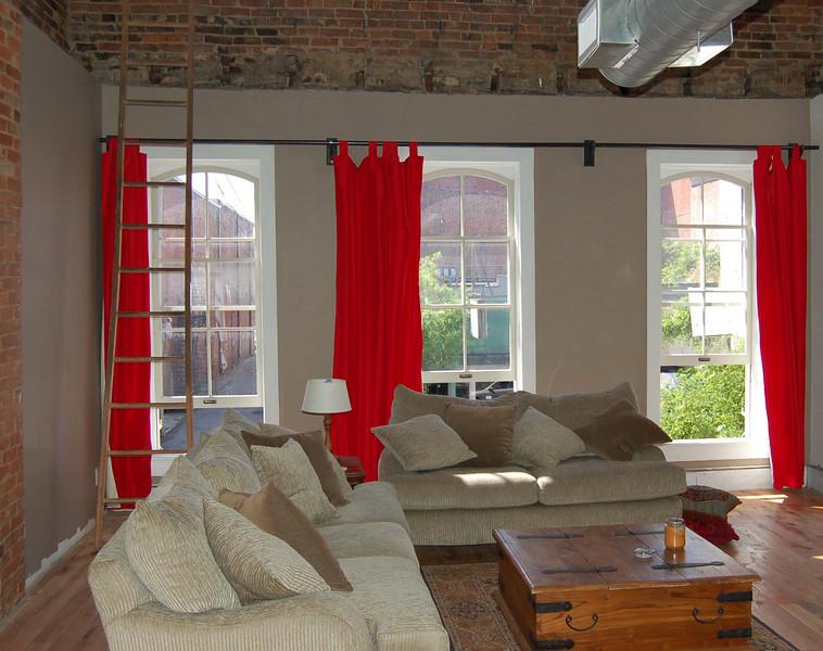 Loft home of Matt and Jessica Bergmann - 133-135 E. Market Street.  2nd and 3rd Floors above Treets Bakery