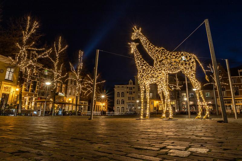 Twee giraffen op het autovrije Grote Kerkhof