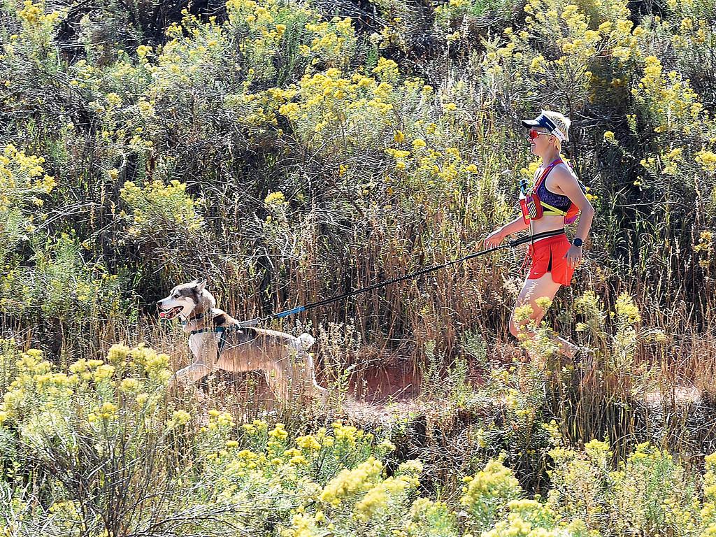 . Jessy Nelson runs with her dog, Buddy Nubby on Friday, Sept. 21, 2018, at the Devil\'s Backbone Open Space in Loveland.  (Photo by Jenny Sparks/Loveland Reporter-Herald)