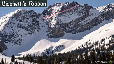 "Luke Heinz and Mike Mckinney backcountry ski Devils Castle line ""Ciochetti Ribbon"" at Alta Utah."