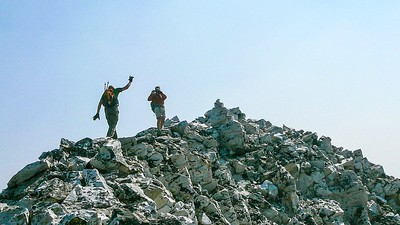 Terry and I take a picture of Mark simultaneously on the last summit ridge.