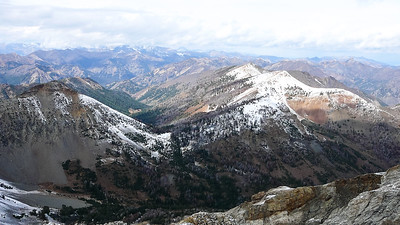 The view back down Summit Creek canyon, with Phi Kappa and Summit Creek Peak to the right.