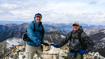 Not sure why I had to have my hand on that cairn, but there you go. Todd and Mark on the summit.