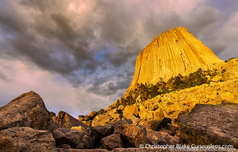 Devils Tower and Storm Clouds