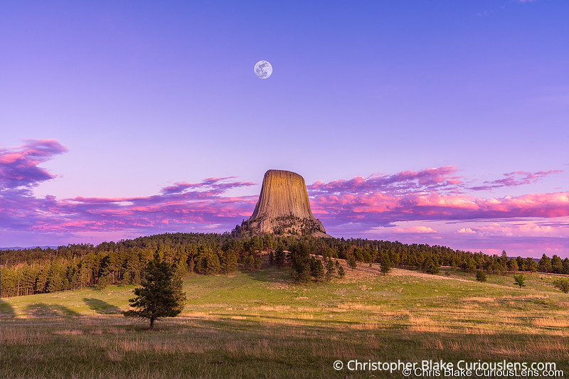 Devils Tower and Moon Sunset