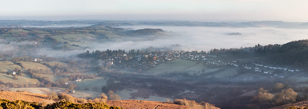 Clearing morning mist over Chagford (pano)