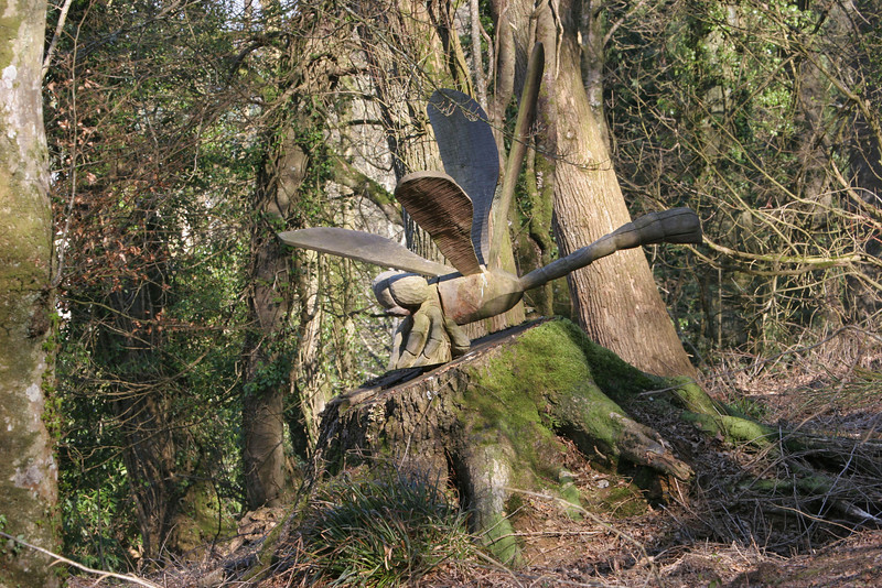 Along one of the many wooded pathways someone spent the time to carve a giant dragonfly......