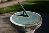 Although weather worn the sundial shows the correct time.