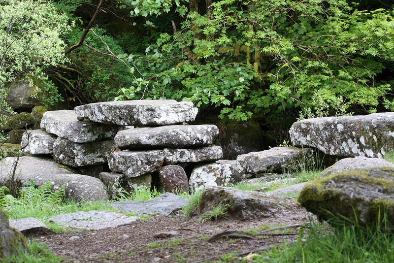 The remains of a medieval clapper bridge which would have provided a dry crossing before the development of more sophisticated structures.