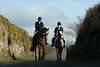 A pair of riders heading towards Widdicombe to follow the hounds