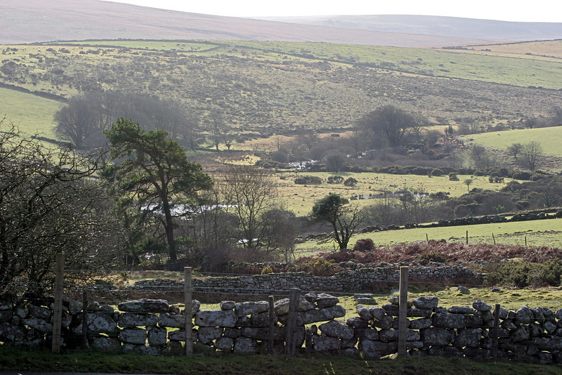 A sunny winter day on Dartmoor approaching Widdicome