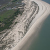 Dewees Island's wide beach from the air