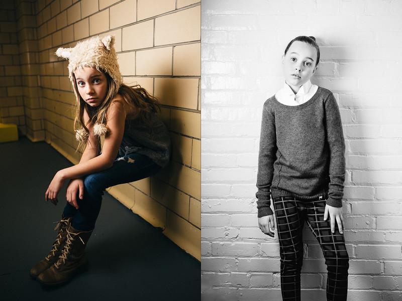 Dewitz Photography - Teslyn - Sitting Against Wall - Plaid Pants