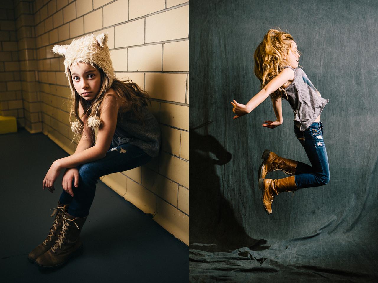 Dewitz Photography - Teslyn - Sitting Against Wall - Jumping