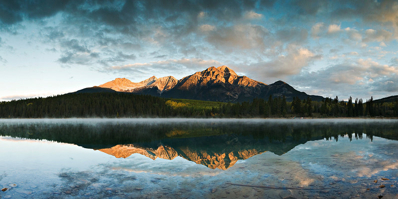 gluwater - Pyramid Mountain reflected in Patricia Lake at sunrise