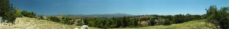 Nikolai Sklobovsky, panorama of Thousand Oaks, CA 91362. Taken 2 PM local time (Pacific), Sony 828, tripod, all manual, manual merge in PS CS2. Taken from this point dead south (and around:-)