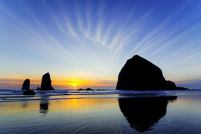 haystack and needles sunset