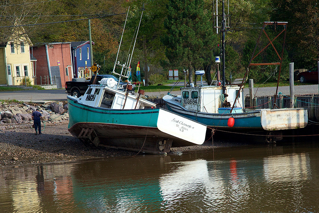 Snowgirl Beached Boats at low tide on the Bay of Fundy