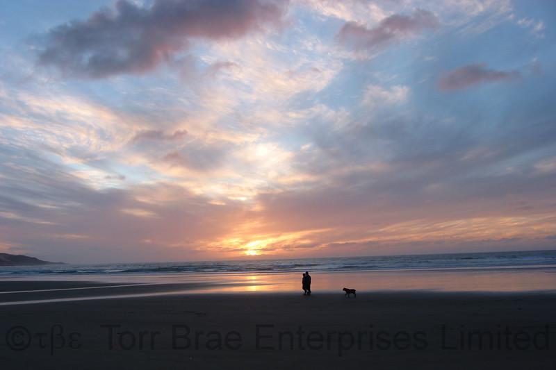 Sunset over Beach, Shipwreck Beach, Ahipara