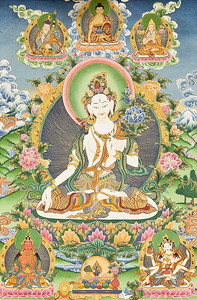This beautiful White Tara thangka belongs to Steve Worley's daughter and was on loan for the White Tara jenang that Lama Zopa gave in 2011 hosted by OCBC.