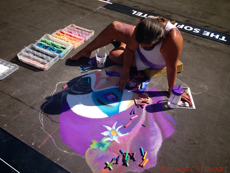 Chalk Walk Artist Creating art on the sidewalks of Little Italy in Downtown San Diego