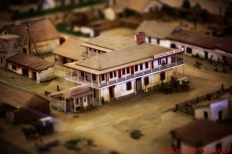 Model of the Cosmopolitan Hotel circa 1869.  The model is located in the Robinson-Rose Visitor Center