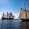 Three tall ships - the Star of India in the center with the San Salvador on the left and the California on the right.
