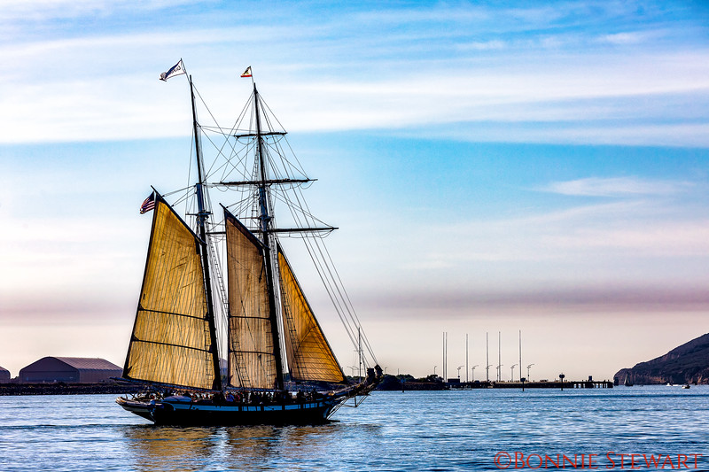 The California with partial Sails heading out to sea