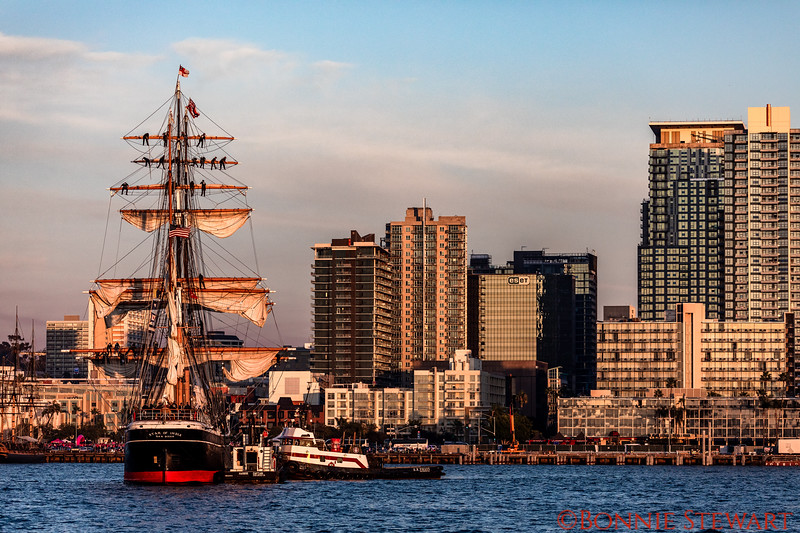 Star of India at sunset at the Embarcadero.  The mast climbers are taking down the Sails!
