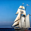 California Sailing vessel with full sails